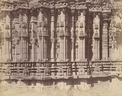Close view of base of shikara of the Dodda Basappa Temple, Dambal, showing moulding and sculptural details